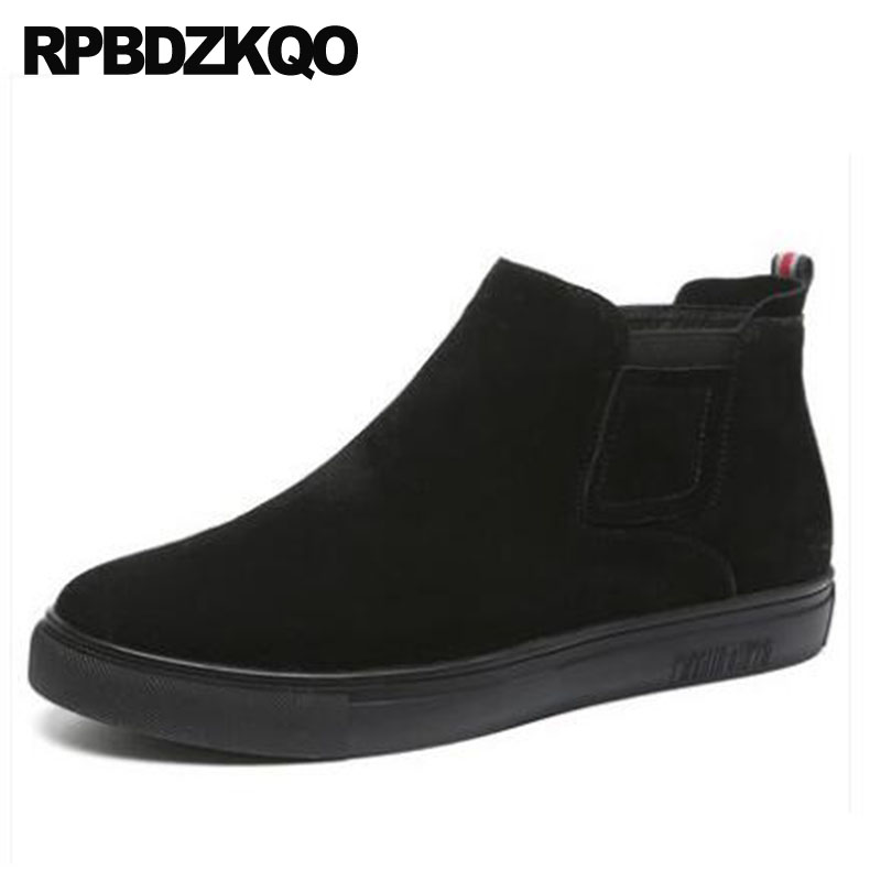 Trainer Ankle Boots Winter Black Flat Faux Fur Chelsea Booties Men Slip On Casual Shoes High Top Genuine Leather Sneakers Suede slip on faux fur flat suede snow boots