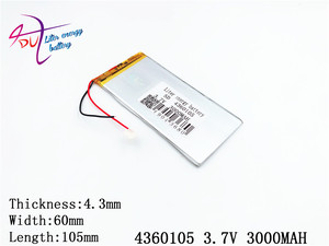 Image 2 - Liter energy battery The tablet 4360105 3.7V 3000MAH 4060105 Universal Li ion battery for tablet pc 7 inch 8 inch 9 inch