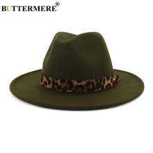BUTTERMERE Fedoras Hats For Women Wide Brim Felt Hat Ladies Tweed Army Green Jazz Cap Female Leopard Winter Elegant Pork Pie