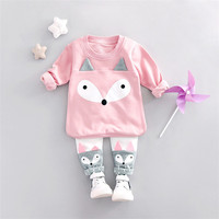 2017 New Spring Long Sleeve Baby Girls Kids Sweet Little Fox Pullovers Cartoon Basic Pants Infants