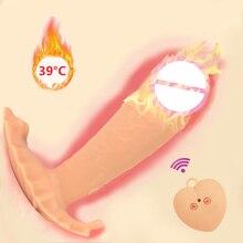 Silicone Wearable Dildo Vibrator Heating Remote Control Vibrating Panties G-spot Clitoris Stimulator Sex Toys for Women Female