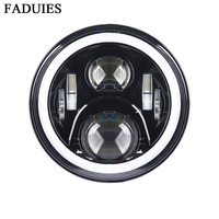 FADUIES Motorcycle Led Headlights Replacement 60W 7 inch Motorcycle Headlamps With DRL For Harley Motobike Black