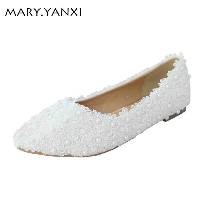 수제 레이스 진주 웨딩 플랫 신발 수제 신부 진주 - 여성 신발