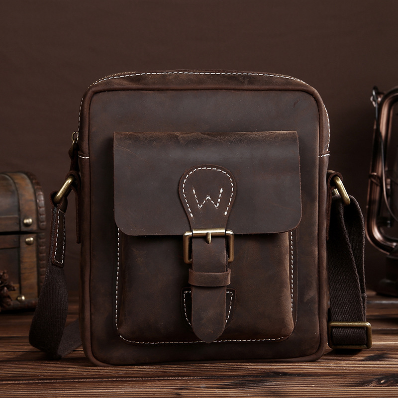 New Crazy Horse Genuine Leather Men Shoulder Bag 100% High Quality Retro Casual Messenger Business Travel Bag Men Shoulder Bags new men s crazy horse genuine leather messenger shoulder pack documents business portable clutch bag portable wrist bag
