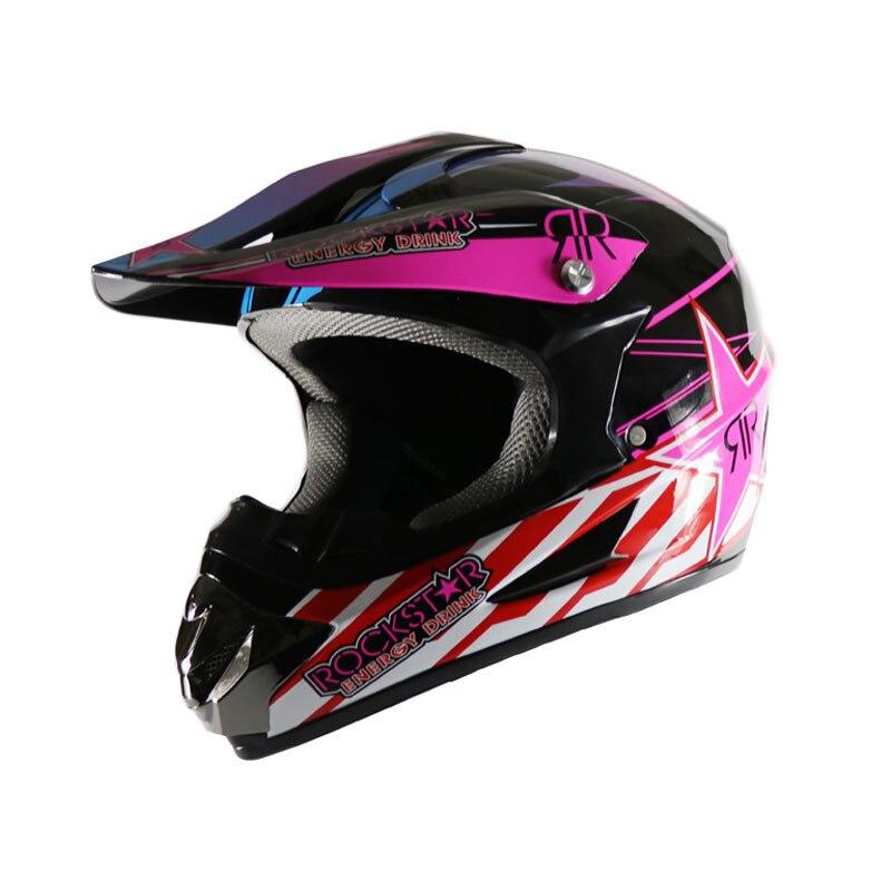A PCS Motorcycle helmet Highway racing off-road Full face helmet off-road helmet Pink Star