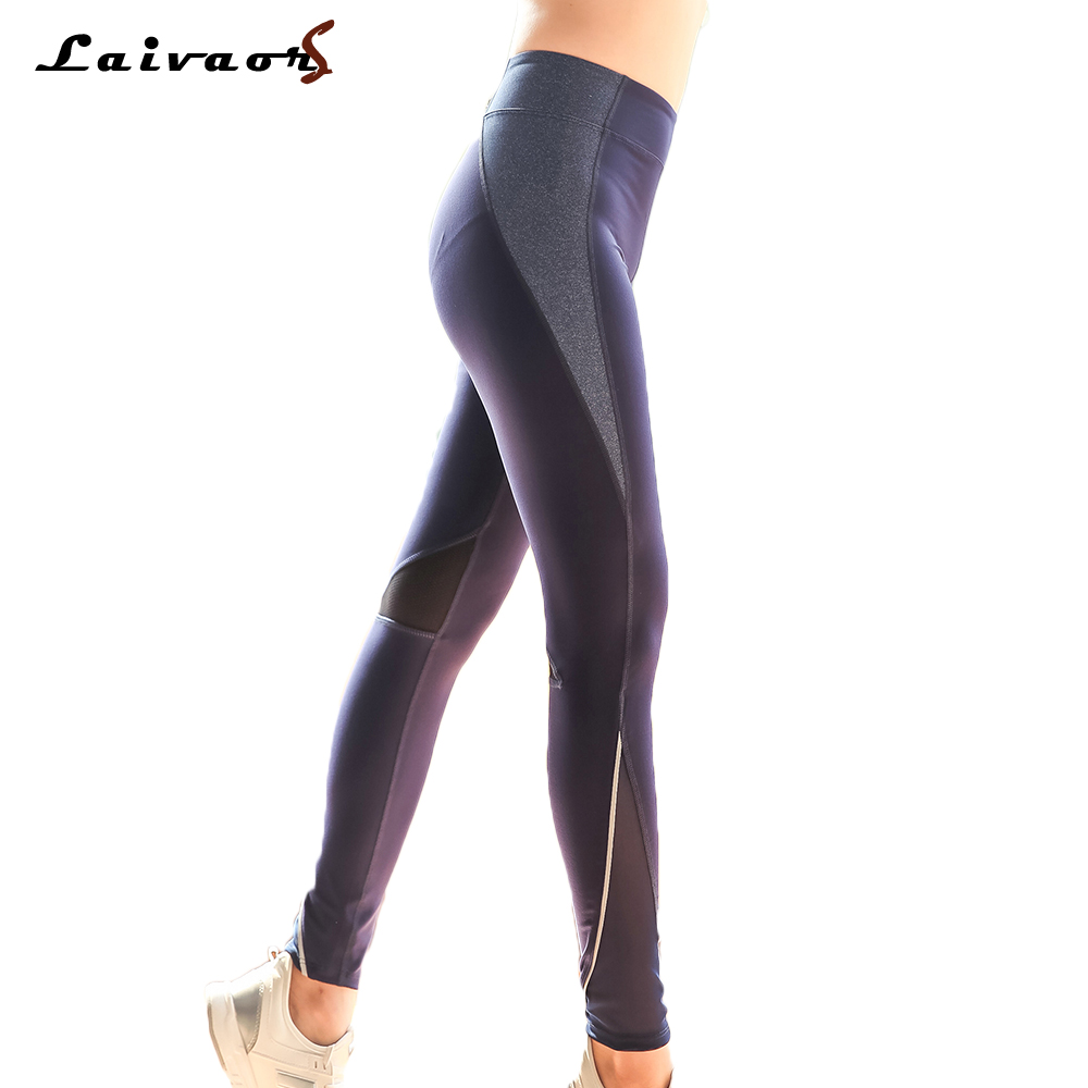 Laivaors Women Sports Mesh Patchwork Yoga Pants Zipper Pocket Gym Workout Leggings Sexy Running Tights Trousers Plus Size L-4XL