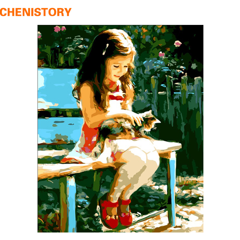 CHENISTORY Cute Girl And Cat DIY Painting By Numbers Modern s
