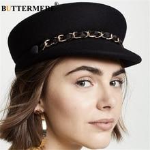 BUTTERMERE Women Flat Cap Wool Black Newsboy Chain Military Ladies Pillbox Hat British Style Vintage Baker Boy