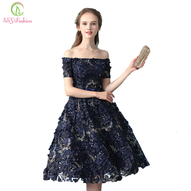SSYFashion New Elegant Banquet Lace Flower Eveing Dress Boat Neck Navy Blue  Appliques Short Formal Party Gown Robe De Soiree 2449282313ff