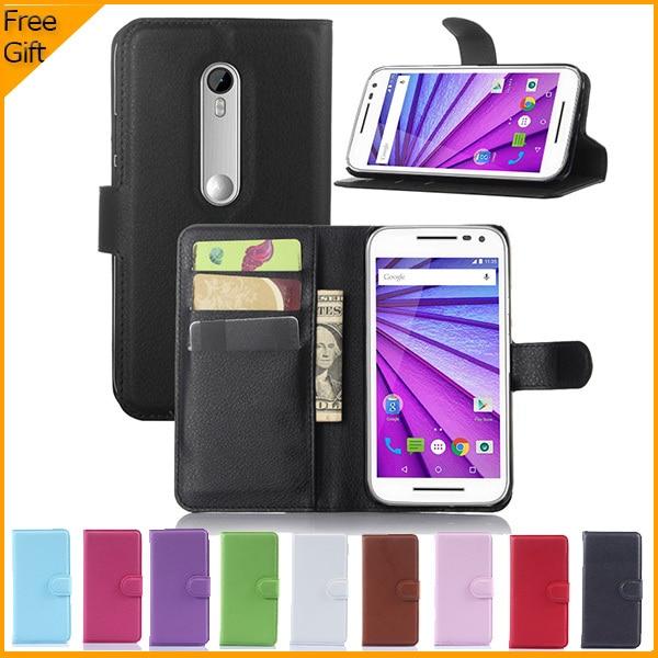 2015 nya lyx plånbok Flip PU läderfodral för Motorola Moto G3 mobiltelefon täcka för Motorola Moto G 3: e gen tillbaka fall