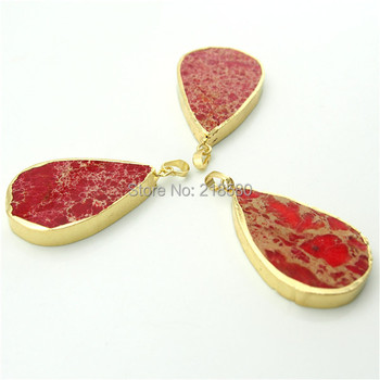 H-SP165 Teardrop Red Imperial Sediment Jaspers Stone Pendants with Electroplated Gold Trim and  Bail