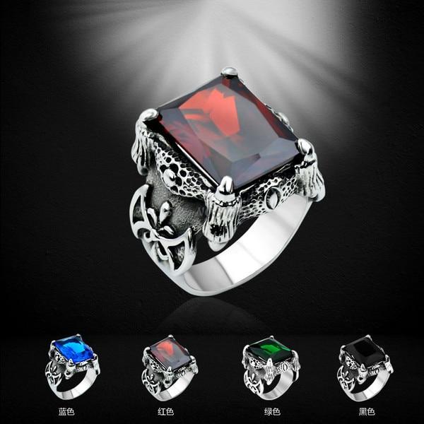 men vintage punk rings titanium steel red blue black gem