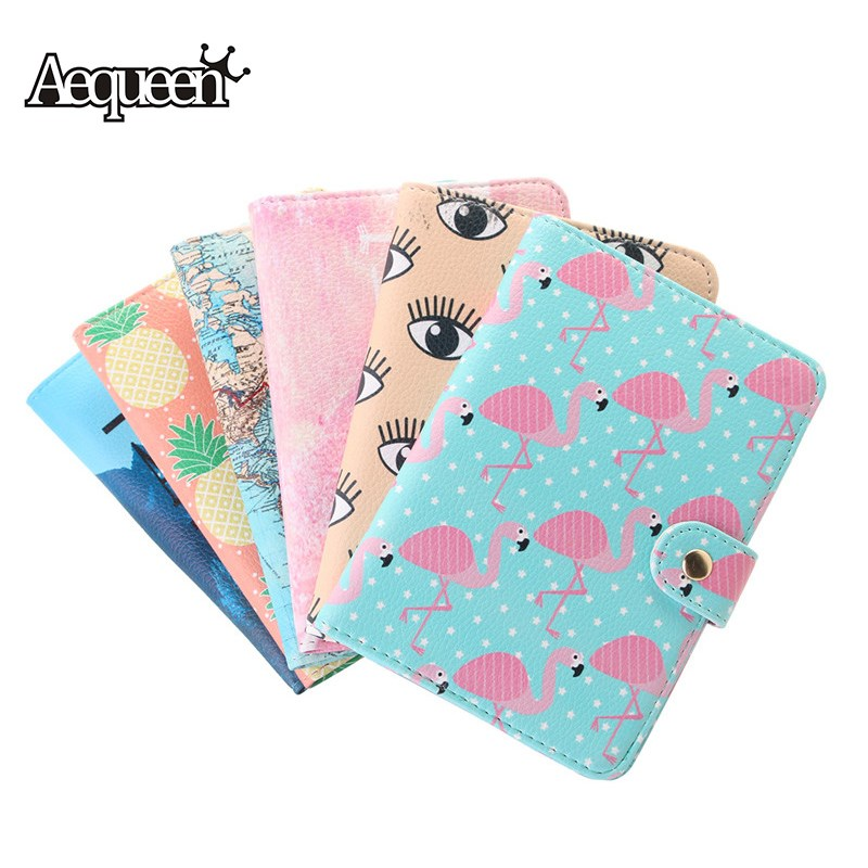 AEQUEEN Cute Flamingo Passport Holders Card Holders PU Leather Cartoon Pineapple Fruit Passport Cover Women ID Credit Cards Case 2008 donruss sports legends 114 hope solo women s soccer cards rookie card