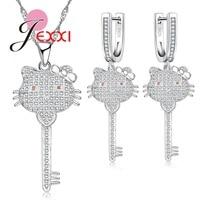 JEXXI New Arrival Woman Jewelry Set 925 Sterling Silver Necklace Earrings Key Pendant Zircon Cute Cat Head Bowknot Heart