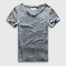 Уличный стиль футболка t мужчин Slim Fi T v-образным вырезом черный мраморный стирка футболки для мужчин VIN T возраст co t на футболки мужской кисло...(China (Mainland))