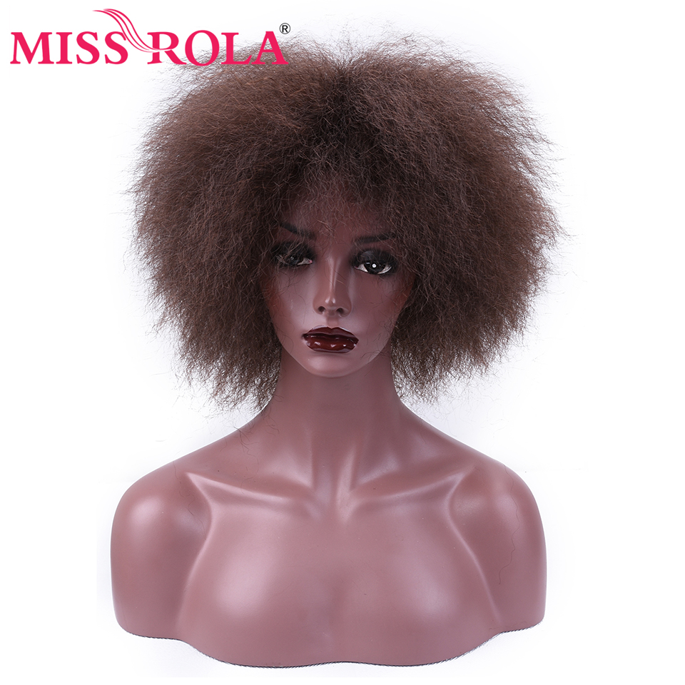 Miss Rola Coco Kanekalon Synthetic Wigs Kinky Straight Hair For Women 6Inch Short Wigs 3 Colors Black 2# 99j# Heat Resistant Wig