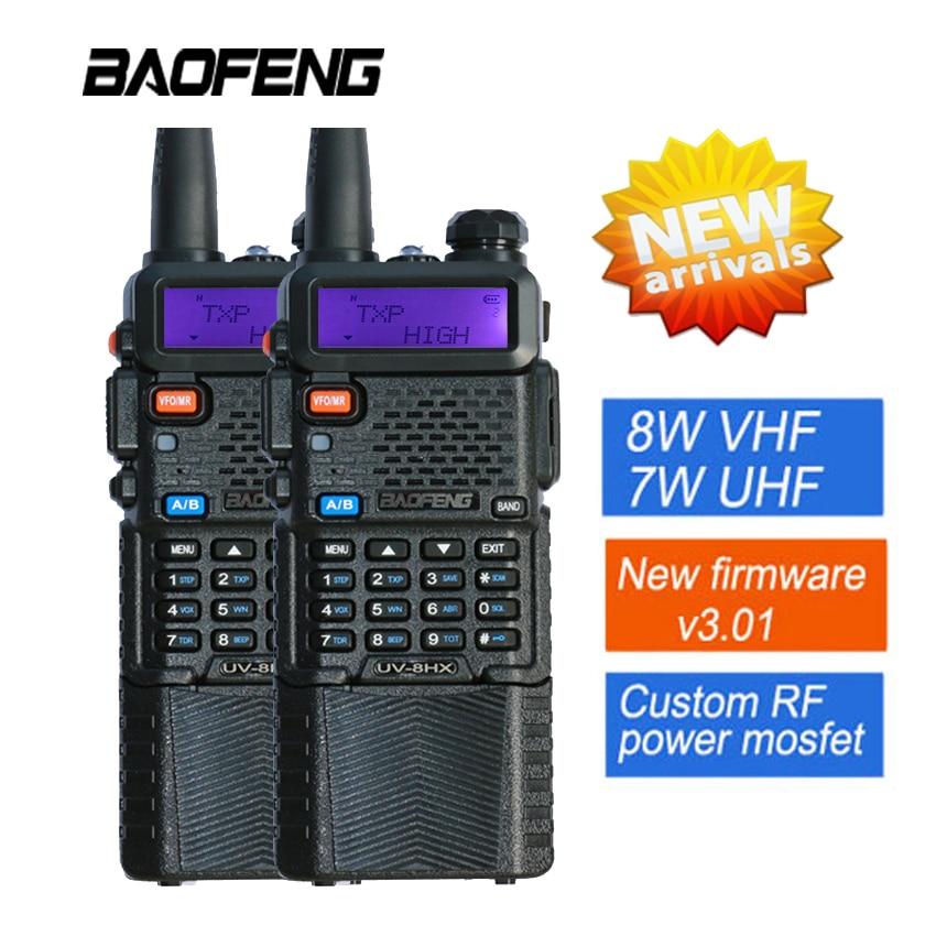 2x Baofeng UV-8HX VHF / UHF двухдыяпазонны Ham Walkie Talkie Двухбаковая радыё сястра Baofeng уф 5г уф-6R УФ-3r + навушнікі 1/4 / 8W FM