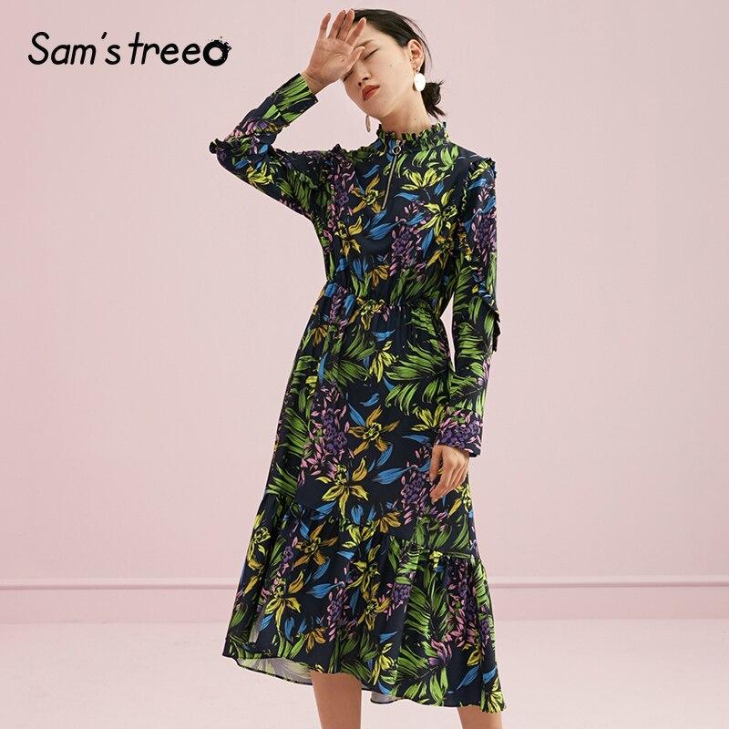 Kadın Giyim'ten Elbiseler'de Samstree Sonbahar Kadın Elbise Çiçek Baskı Standı Yaka kadın elbisesi Elastik Bel A line Genç Lady Vestidos'da  Grup 3