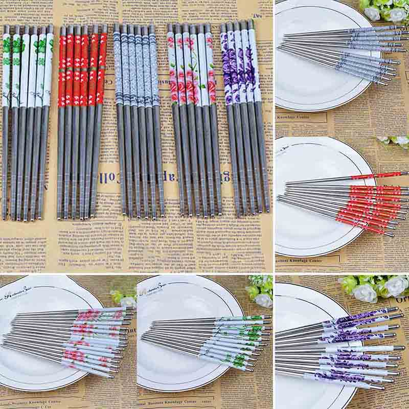 1 Pairs 23cm Stainless Steel Sliver <font><b>Chopsticks</b></font> Chinese Reusable Non-Slip Hashi Sushi Sticks Kitchen Accessories image