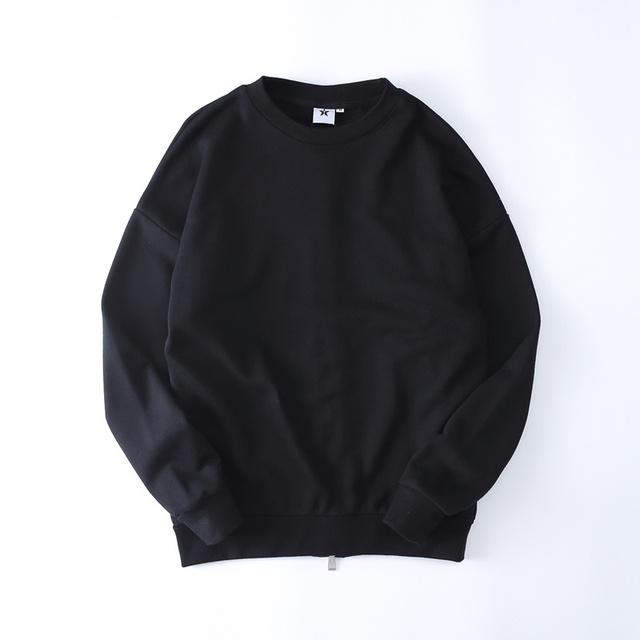 Streetwear Pullover Blanco Camiseta de Los Hombres 2017 de Invierno de Nuevo Cremallera Color Sólido Kpop Hip Hop Sudaderas Negro Blanco