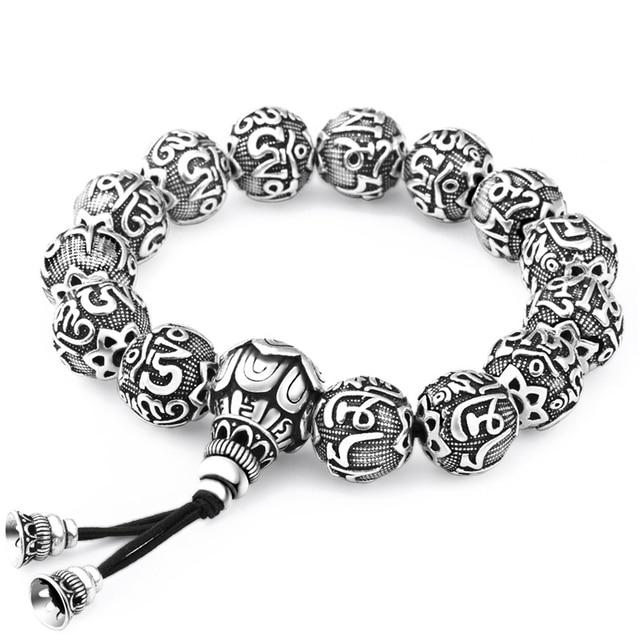 Fine Retro Traditional Tibetan Buddhism Tibetan Silver Bracelet Men Six Words Mantras OM MANI PADME HUM Lotus Beads Bracelet