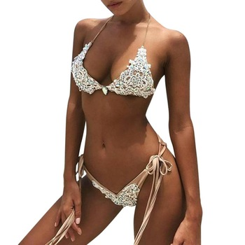 Hot sale Summer Super Sexy Low Waist Swimwear Women Hand-woven beaded bandage Bikini Set Push up Swimsuit Beach Suit biquini S-L