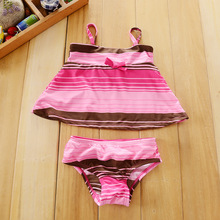 Action club Character high-quality Kids Swimming two-Pieces Baby Girls Bathing Suit Children  Summer stripe pink Swimwear