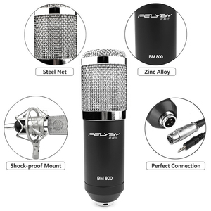 Image 4 - HOT! FELYBY bm 800 professional recording Condenser microphone set for computer with Phantom power and Multi function sound card