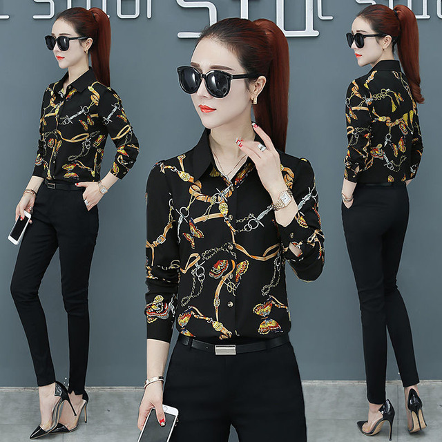 Women Spring Summer Style Blouses Shirts Lady Casual Long Sleeve Turn-down Collar Flower Printed Blusas Tops DF2700 3