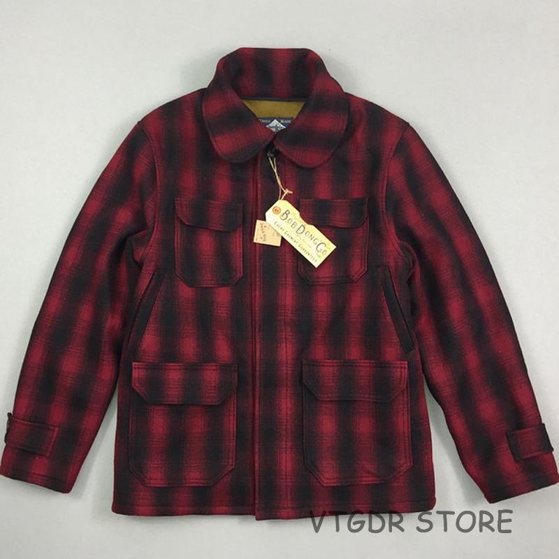 Bob Dong Woolen Plaid Checks Hunting Jacket Vintage Winter Men's Wool Fleece Coat Red Black