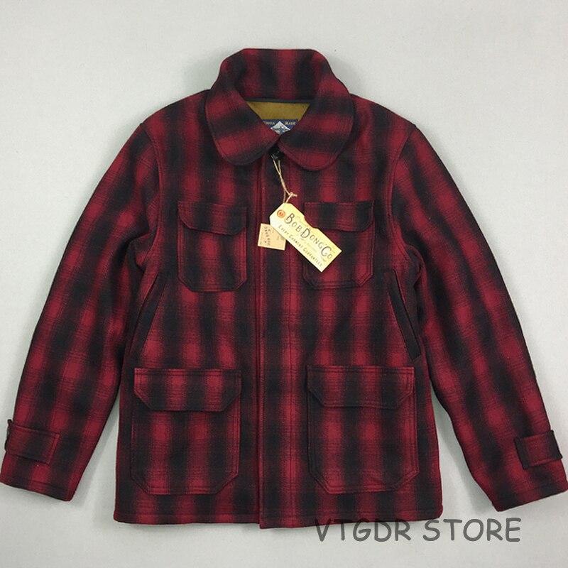 Bob Dong laine Plaid carreaux chasse veste Vintage hiver homme laine polaire manteau rouge noir