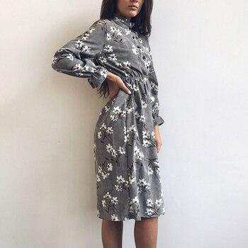 2019 Outono Inverno Mulheres Vestidos De Veludo Casuais Manga Longa De Cintura Alta Elástica Flor Imprimir Vestido De Festa Vestido Feminino Vestidos 1