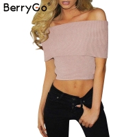 Simplee Vintage Knitted Crop Top Women Tops Streetwear Off Shoulder Camisole Tank Top Sexy Elastic Short