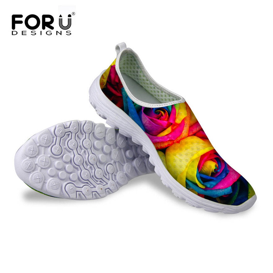 New Casual Breathable Mesh Shoes For Women Floral Pattern Women's Flats Shoes Fashion Summer Leisure Net Walking Shoes 6 Colors instantarts women flats emoji face smile pattern summer air mesh beach flat shoes for youth girls mujer casual light sneakers