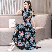 2019 summer women chiffon retro chinese traditional dress silk cotton cheongsam female lady party casual design qipao VKDR1331