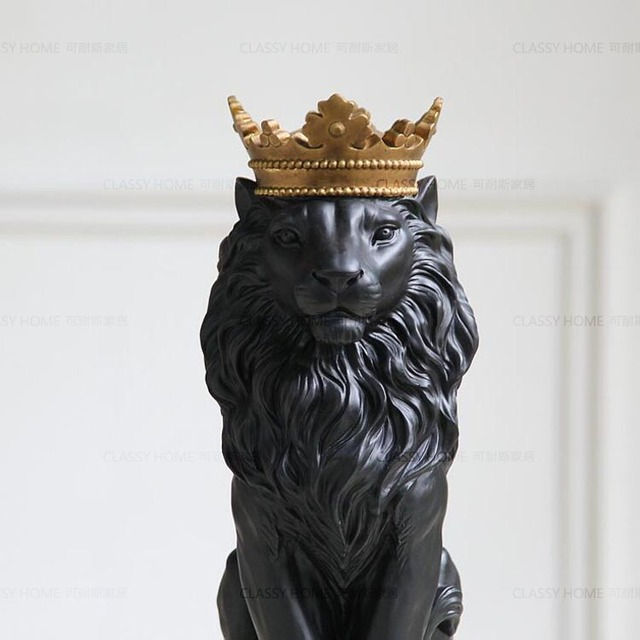 Black Creative Resin Lion King Figurines Home Decor Crafts Room Decoration  Objects Vintage Ornament Resin Animal