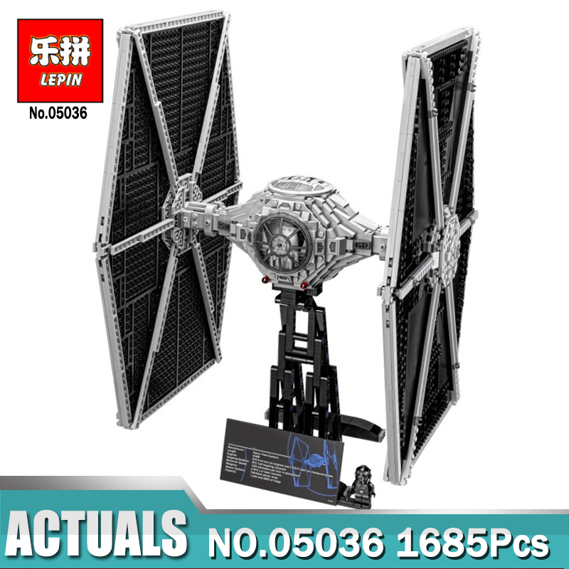 Lepin 05036 Star 1685Pcs Wars TIE Model Fighter Building blocks Bricks Compatible the Classic LegoINGlys 75095 to Children Gift new lepin 05048 star classic model wars 543pcs the tie striker building blocks bricks toys compatible with 75154 children gift