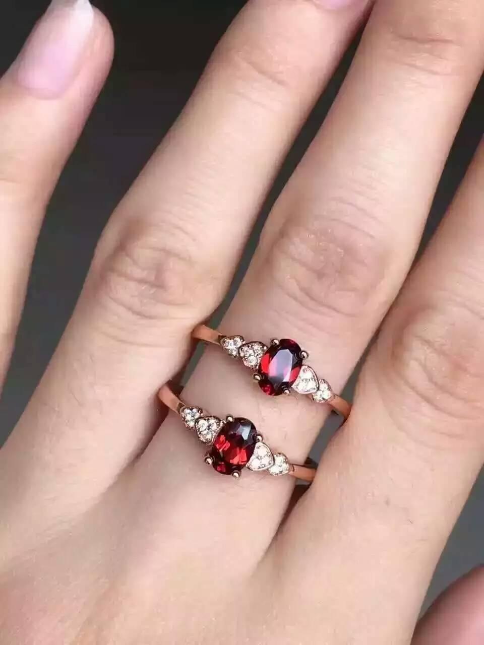 1a1dd6e08684 Rojo granate natural anillo de piedras preciosas naturales S925 plata  esterlina de moda elegante corazón de la muchacha de las mujeres joyería de  la boda en ...