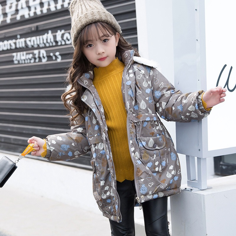 New 2018 Spring Kids Cotton Coats Girls Jackets Thicken Children Outer Clothes Baby Warm Coat Middle Long Style Winter,2516 korean baby girls parkas 2017 winter children clothing thick outerwear casual coats kids clothes thicken cotton padded warm coat