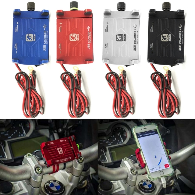 Soporte de montaje de teléfono de manillar de motocicleta de Metal con cargador USB para Smartphone
