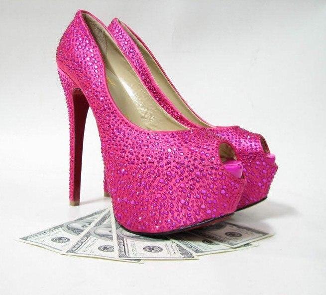 Pink High Heels For Wedding: Strass Daffodil Glitter Pumps, Daffodil Pink Daffodil