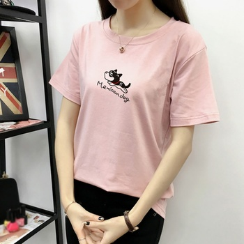 New Cotton Summer T-shirt Woman Fashion Puppy Dog Print Solid Short Sleeve O-Neck Women Top Slim Fit Soft Women T Shirt