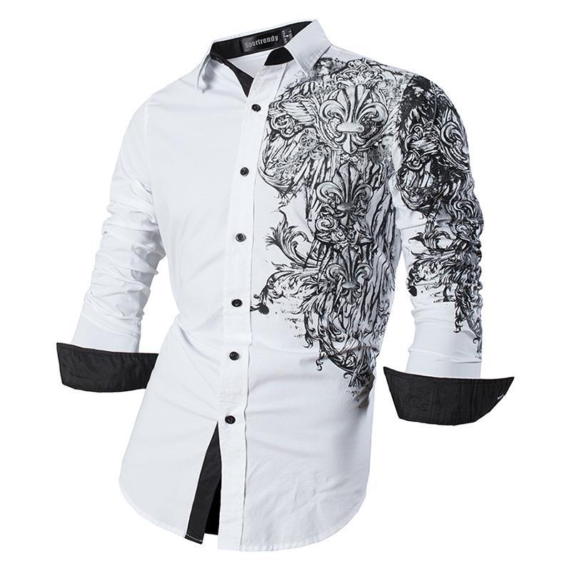 Sportrendy Men's Shirt Dress Casual Long Sleeve Slim Fit Fashion Dragon Stylish JZS048 White2