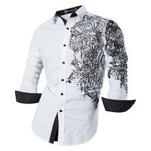 Sportrendy camisa masculina vestido casual manga longa magro ajuste moda dragão à moda jzs048 white2