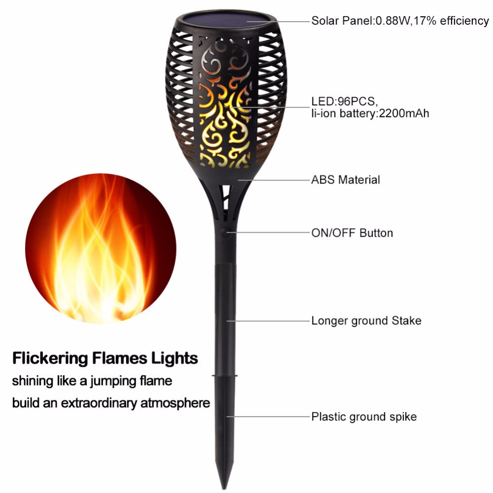2 Pack Solar Tiki Torch Lights Led Garden Waterproof Outdoor Way Switch Flickering Courtyard Lamp Dancing Flame 96 Leds Decorative In Lamps From