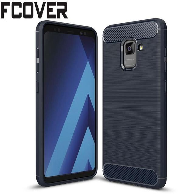 big sale 95437 80f15 US $4.5 |For Samsung Galaxy A8 Plus 2018 Case+Tempered Glass Carbon Fiber  Slim Armor TPU Hybrid Tough Gel Soft Skin Back Silicon Cover -in Phone  Pouch ...