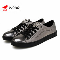 HOT Selling 2016 Spring Autumn Europe Style Men Casual Shoes Gold Silver Student Pu Dancing Hip