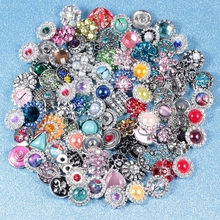 Wholesale 50pcs/lot Mixed metal 18mm snap button jewelry DIY Metal Rhinestone button snaps fit snap button bracelet Jewelry