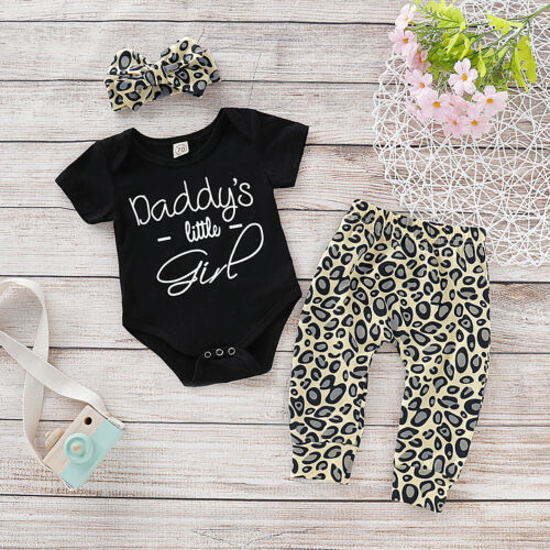 Baby Girl Clothes Romper Top Leopard Print Pants Outfits 0-24M