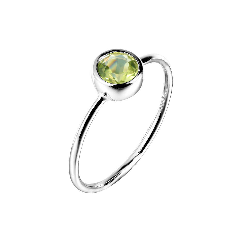 DORMITH real  925 sterling silver rings natural peridot rings  gemstone rings for women jewelry